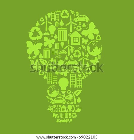 illustration of bulb shape, made from different ecological items.