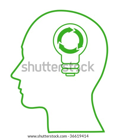 Illustration of bulb with ecology symbol in human head, (jpg)