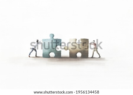 illustration of business men playing in teamwork with puzzle, cooperation concept