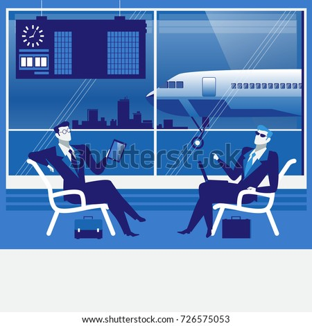Illustration of business people at the airport. Businessmen with tablet, laptop sitting in waiting hall. Business trip, travel by plane concept design element in flat style.