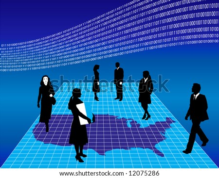 illustration of business people on a gridded map of America, binary wave above.