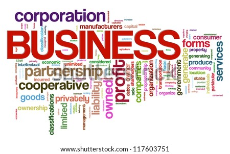 Illustration of business wordcloud word tags