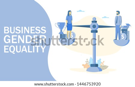 illustration of businessman and businesswoman balancing on scales on the same height. Business gender equality, justice, equal work, opportunities and wage concept for web banner, website page.