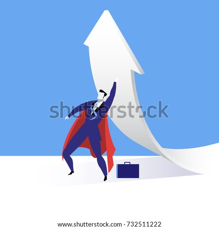 Illustration of businessman in red cloak looking like superhero and rising up arrow changing the direction. Business success concept design element in flat style