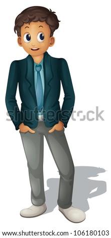 Illustration of businessman standing on white