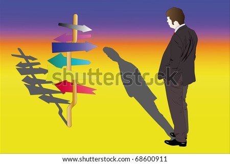 illustration of businessman stands near the pointer