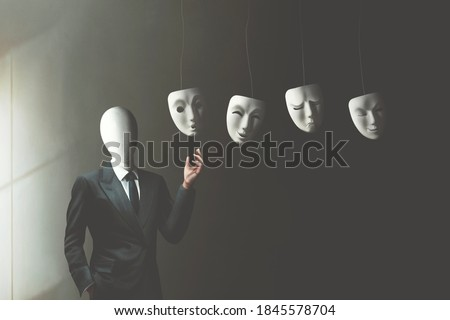illustration of businessman without face choosing the right mask to wear, surreal identity concept