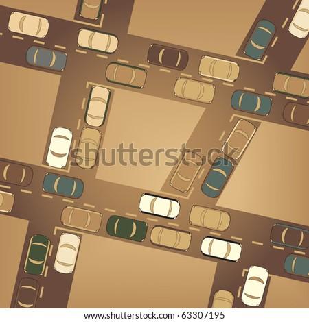 Illustration of busy car traffic