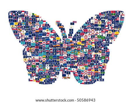 Illustration of butterfly made from US States Flags, collage