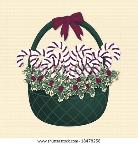 illustration of candy cane gift basket on ivory pattern