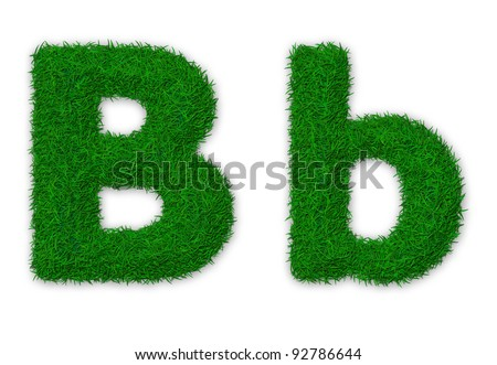 Illustration of capital and lowercase letter B made of grass