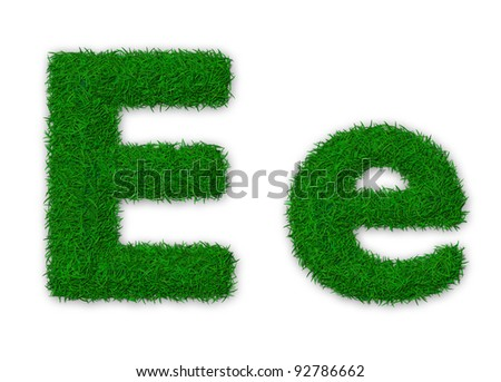 Illustration of capital and lowercase letter E made of grass