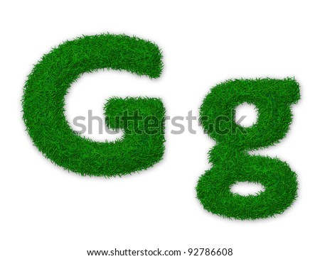 Illustration of capital and lowercase letter G made of grass