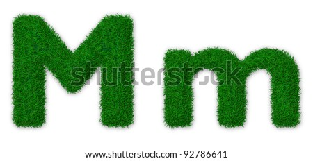 Illustration of capital and lowercase letter M made of grass