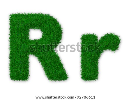 Illustration of capital and lowercase letter R made of grass