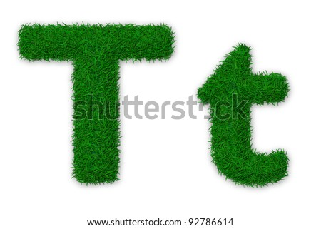 Illustration of capital and lowercase letter T made of grass