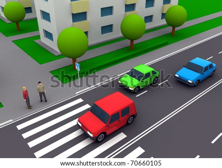 Illustration of car road in city