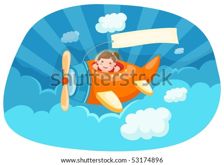illustration of cartoon airplane with blank banner