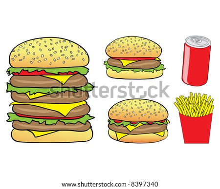 Illustration of Cartoon Burgers, Chips and a Can