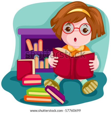 Illustration of cartoon cute girl reading a book