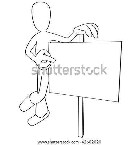 Illustration of cartoon person pointing at blank sign