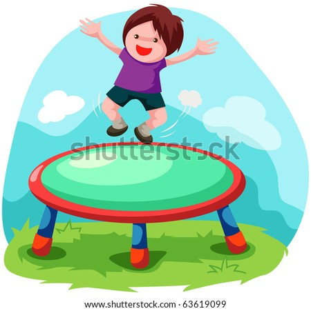 illustration of cartoon trampoline jumping