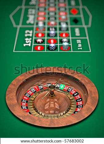 Illustration of Casino Roulette Wheel. 3D rendered.