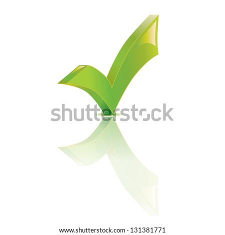 Illustration of check mark over white background