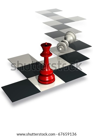 illustration of chess board with queen