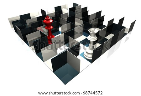 illustration of chess board with queen and peons