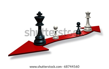 illustration of chess pieces on an arrow