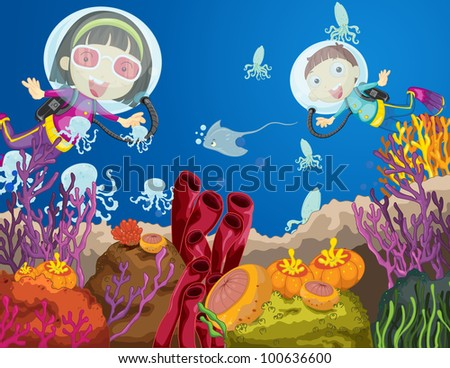 Illustration of children diving underwater