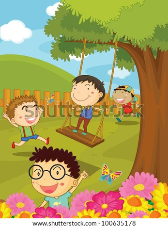 Illustration of children playing in park - EPS VECTOR format also available in my portfolio.