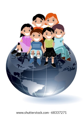 Illustration of Children sitting on a globe