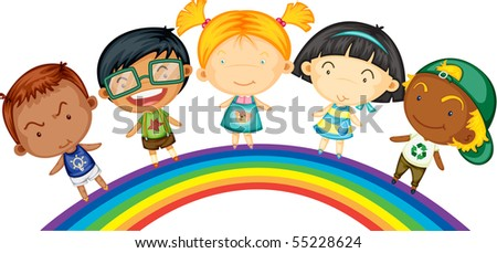 Illustration of children standing on rainbow on white background