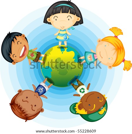 Illustration of childrens standing round the globe on white background
