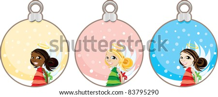 Illustration of Christmas angels holding gifts in hanging snow globe balls. - stock photo