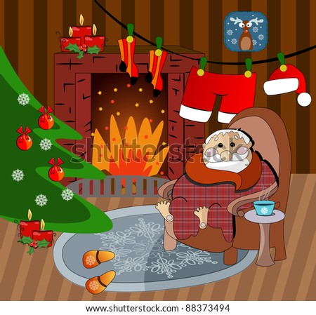 illustration of christmas decoration around fire place, Santa Claus home