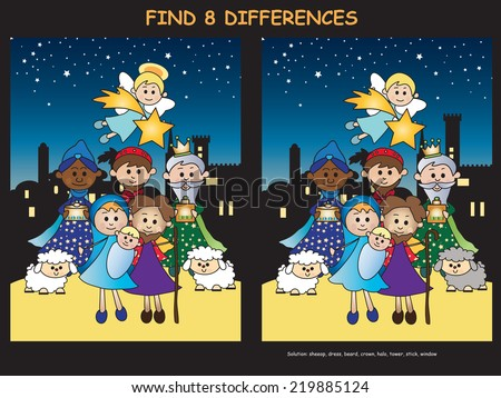 illustration of christmas game find eight differences