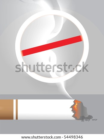 Illustration of cigarette and danger symbol