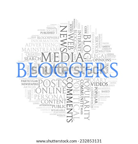 Illustration of circular round wordcloud word tags of concept of blogging