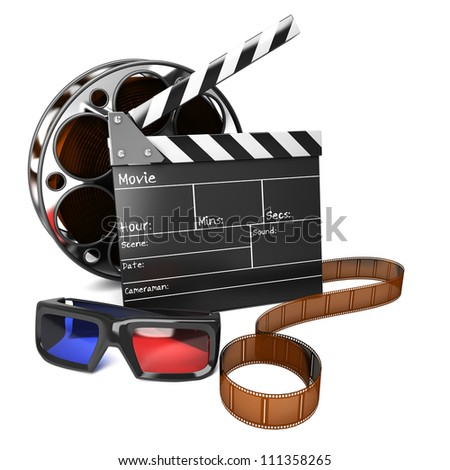 illustration of clap board with film reel and 3D movie glasses