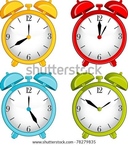 illustration of classic alarm clock on background