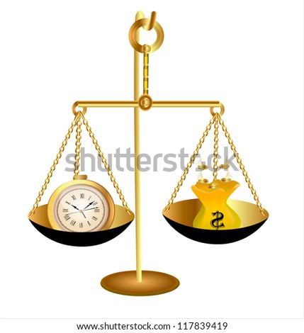illustration of clock time money dollar on scales - stock photo