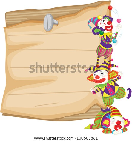 Illustration of clowns in front of paper - EPS VECTOR format also available in my portfolio.
