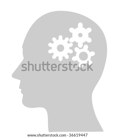 Illustration of cogs or gears in human head, (jpg)