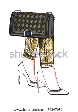Illustration of colored fashion high-heeled shoes with a handbag isolated