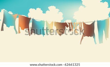 Illustration of colorful clothes on a washing line