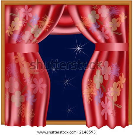 Illustration of colorful curtains (chinese silk style)