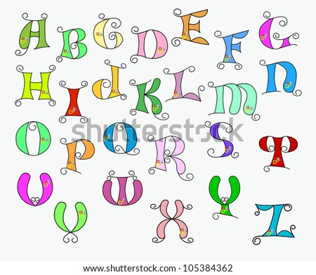 illustration of colorful funky alphabet on a white background